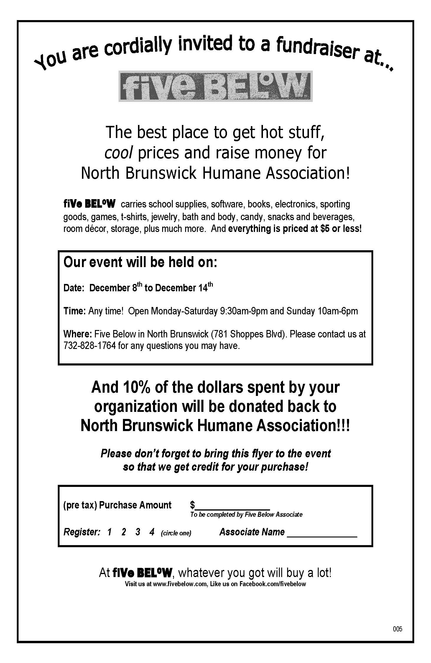 Five Below North_Brunswick_Humane_Association_Flyer