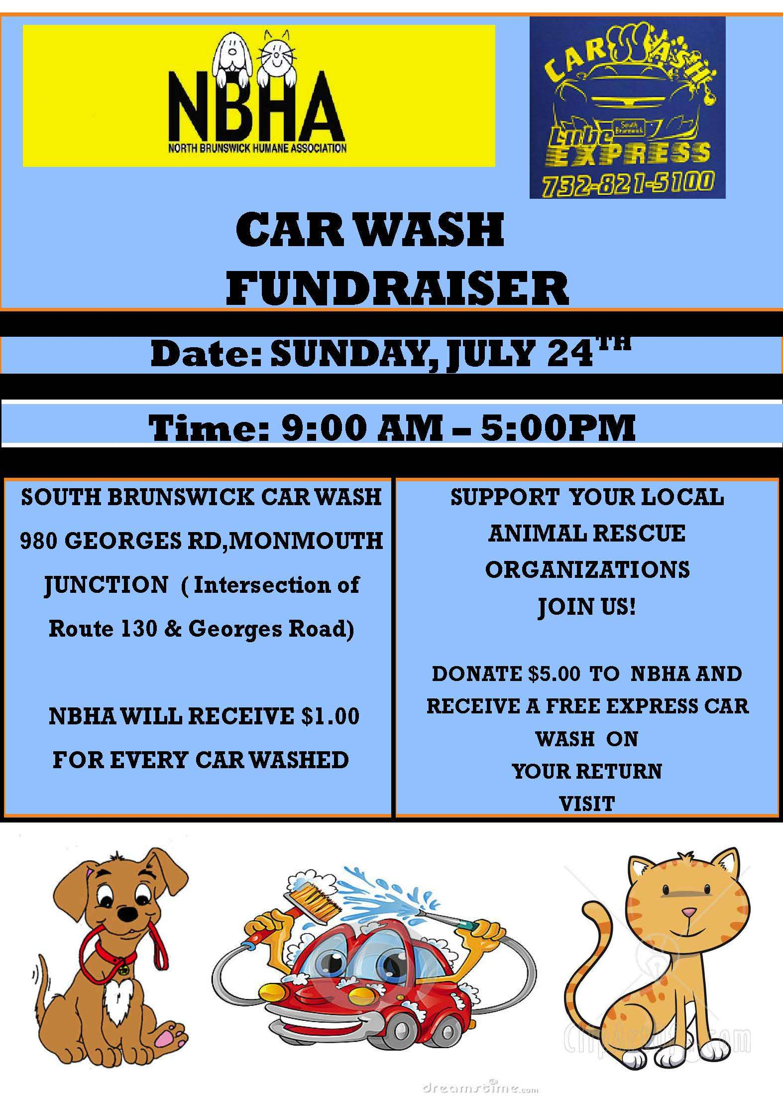Car Wash Fundraiser Sunday July 24th North Brunswick Humane